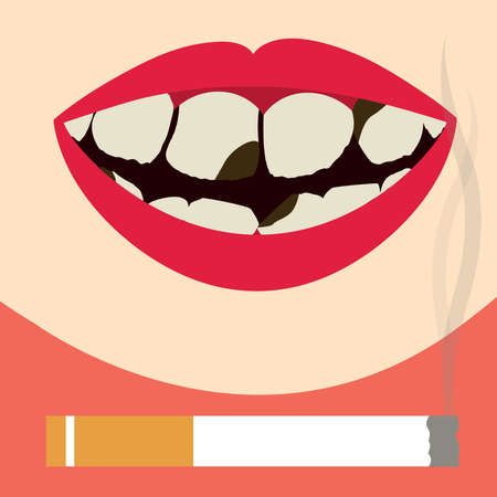 oral health: Smile with decayed, dirty and yellowed teeth. Cigarette fuming. Oral health damaged by smoking.
