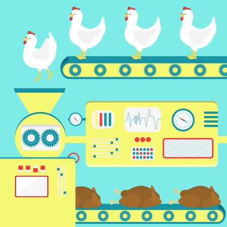 工場から生産の鶏肉は、鶏を住んでいます。屠殺場の比喩。  イラスト・ベクター素材