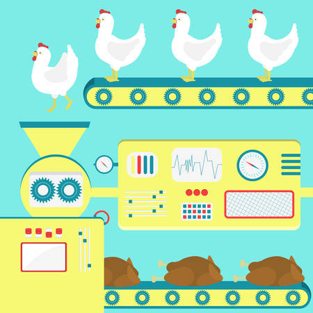 food plant: Factory producing chicken meat from live chickens. Metaphor of a slaughterhouse. Illustration