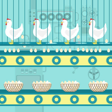 Chickens laying eggs on the conveyor. Eggs in a basket. Metaphor of series production of eggs. Concept. Illustration