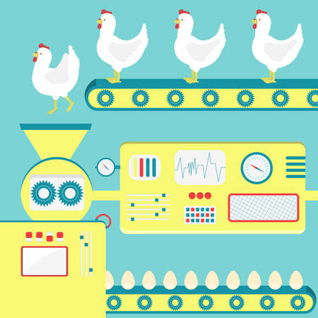 chicken egg: Factory producing chicken egg from live chickens. Concept.