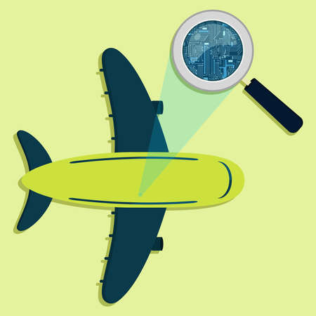Magnifying glass enlarging electronic circuit of plane. Concept. Illustration