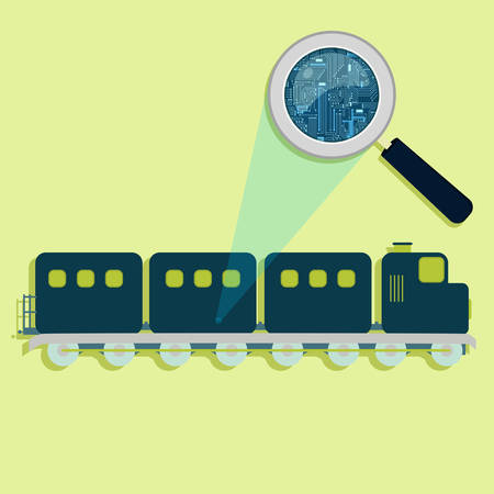 electronic circuit: Magnifying glass enlarging electronic circuit of train. Concept. Illustration