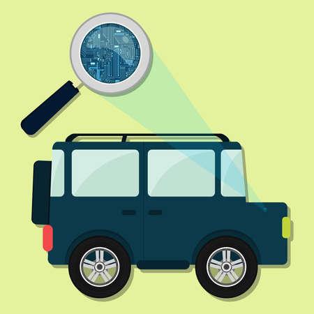 4x4: Magnifying glass enlarging electronic circuit of 4x4 car. Concept.