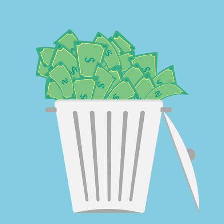 Large trash bin overflowing money bill.