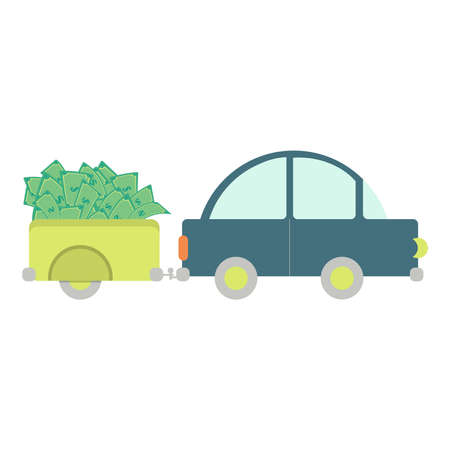 Car with luggage trailer with money bill. White background. Illustration