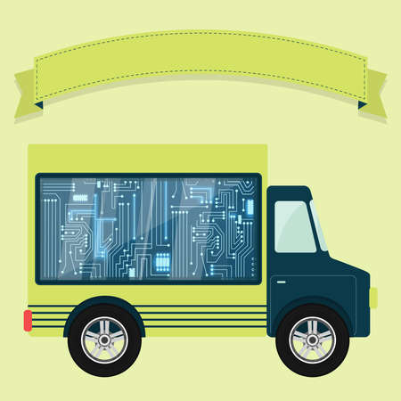 electronic circuit: Chip electronic circuit shown in a showcase in the back of a truck. Ribbon to enter text. Concept. Illustration