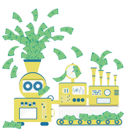 Machine sprouting paper money. Factory of money bill production.