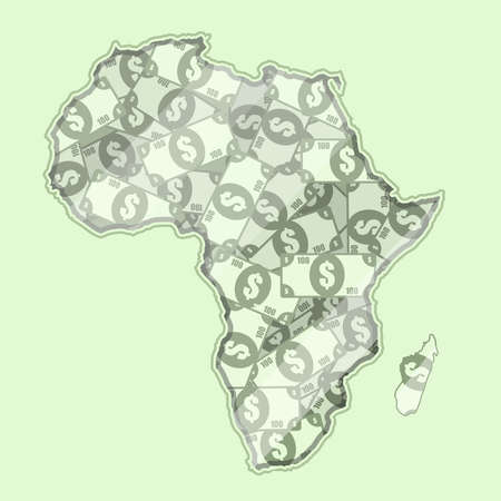 bank notes: Map Africa covered in money, bank notes of 100 dollars. On the map there is glass reflection. Conceptual. Illustration