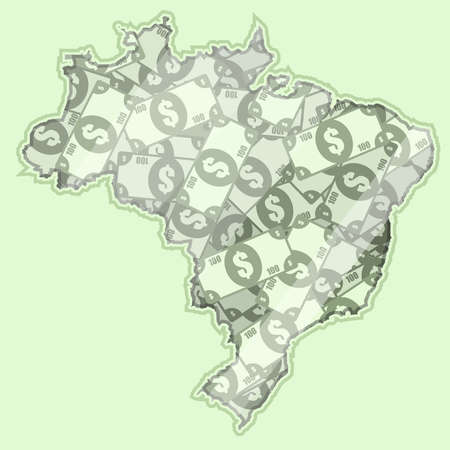 bank notes: Map Brazil covered in money, bank notes of 100 dollars. On the map there is glass reflection. Conceptual.
