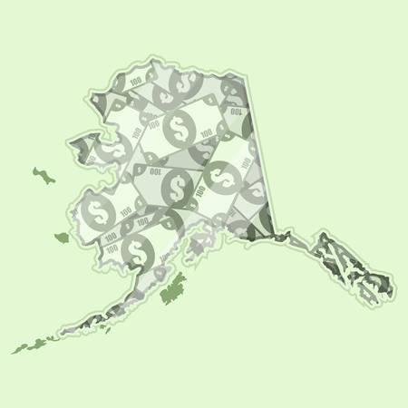 mapa conceptual: Mapa de Alaska cubierto de dinero, billetes de banco de cien dólares. En el mapa hay reflexión de vidrio. Conceptual.
