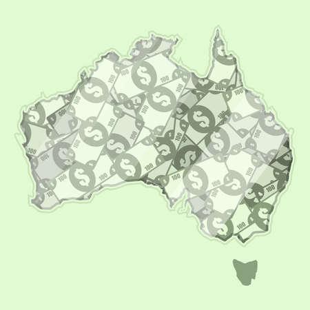 mapa conceptual: Australia mapa cubierto de dinero, billetes de banco de cien dólares. En el mapa hay reflexión de vidrio. Conceptual.