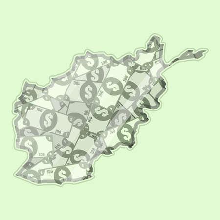 mapa conceptual: Afganistán mapa cubierto de dinero, billetes de banco de cien dólares. En el mapa hay reflexión de vidrio. Conceptual. Vectores