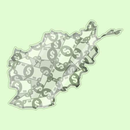 glass reflection: Map Afghanistan covered in money, bank notes of one hundred dollars. On the map there is glass reflection. Conceptual. Illustration