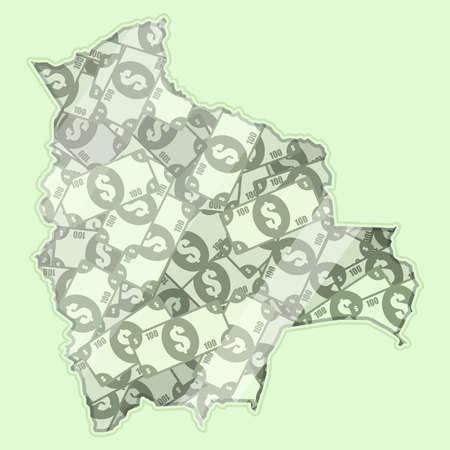 mapa de bolivia: Bolivia mapa cubierto de dinero, billetes de banco de cien dólares. En el mapa hay reflexión de vidrio. Conceptual. Vectores