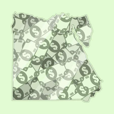mapa conceptual: Egipto mapa cubierto de dinero, billetes de banco de 100 dólares. En el mapa hay reflexión de vidrio. Conceptual.