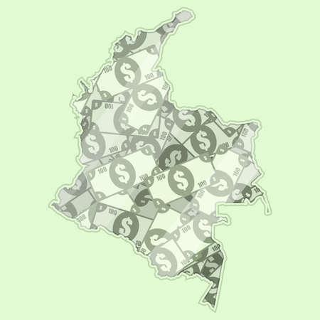 mapa conceptual: Colombia mapa cubierto de dinero, billetes de banco de 100 dólares. En el mapa hay reflexión de vidrio. Conceptual.