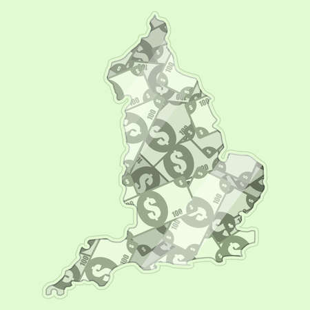 glass reflection: Map England covered in money, bank notes of one hundred dollars. On the map there is glass reflection. Conceptual.