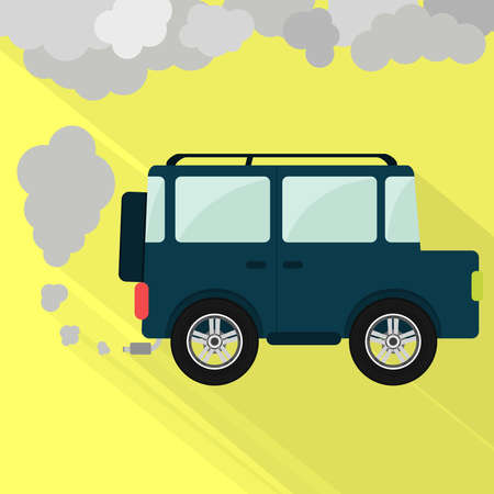 offroad car: off-road car steaming the exhaust pipe. Air pollution. Flat design with long shadow,