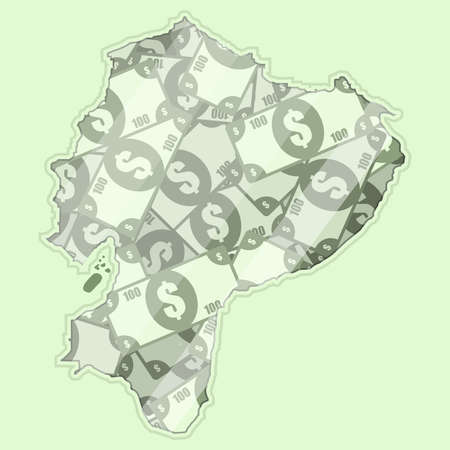 glass reflection: Map Equator covered in money, bank notes of one hundred dollars. On the map there is glass reflection. Conceptual.