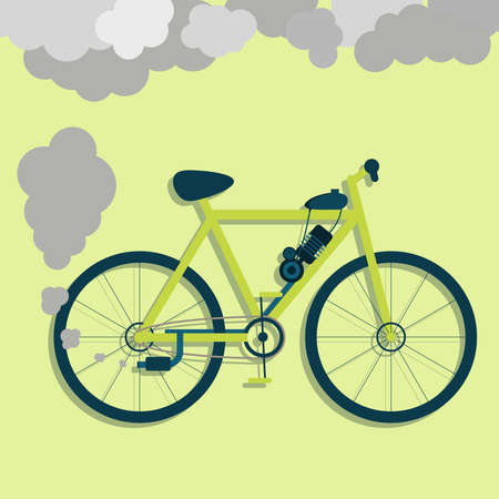 exhaust: Electric bicycle steaming the exhaust pipe. Air pollution. Flat design with long shadow. Metaphor. Concept Illustration
