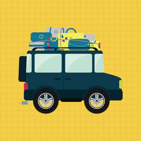 loaded: Off road or 4x4 car with luggage on the roof. Yellow backgroung.
