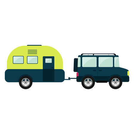 4x4 car pulling a trailer. Isolated. White background.