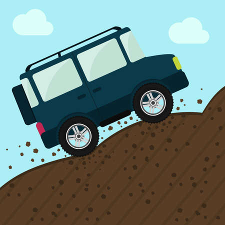 offroad car: Offroad car up the mountain. Adventure Sport. Stones and earth on the ground. Sky on the background.