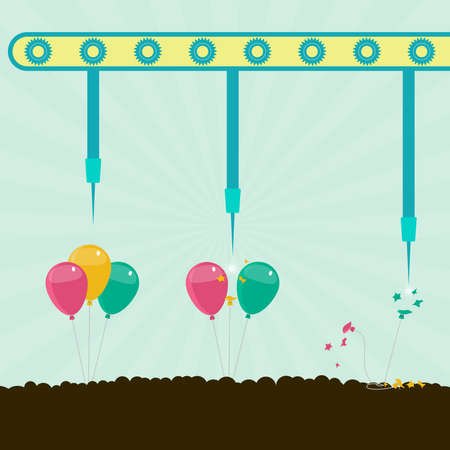 metaphorical: Machine with needles exploding balloons on the soil. Concept. Metaphorical.