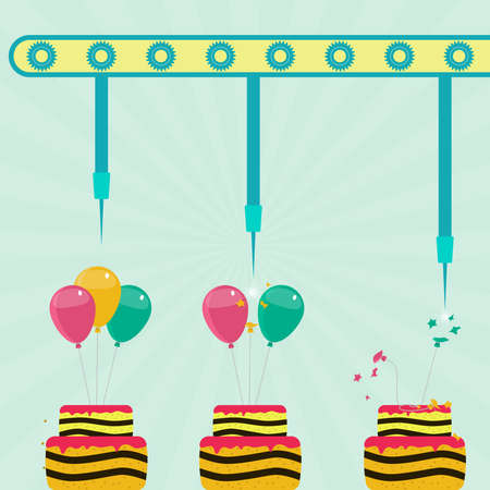 Machine with needles exploding balloons on the cake. Blue sky on the background. Concept. Metaphorical.