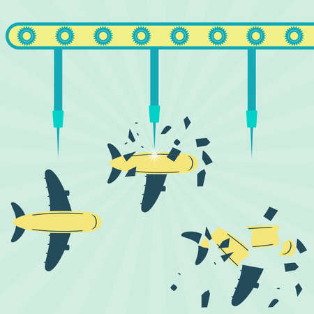 metaphorical: Machine with needles exploding the plane on the air. Concept. Metaphorical. Illustration