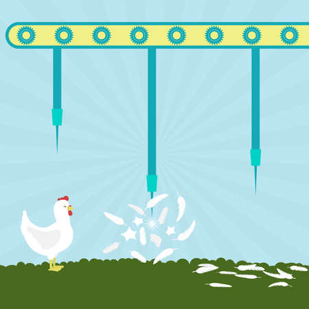 pluck: Machine with needles exploding chickens in the filed. To pluck chicken. Concept. Metaphorical.