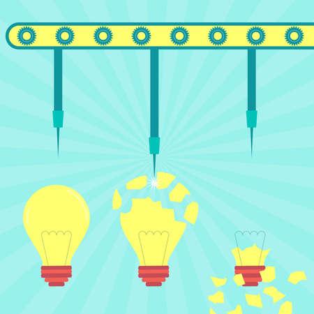 metaphorical: Machine with needles exploding light bulb. Concept. Metaphorical. Illustration