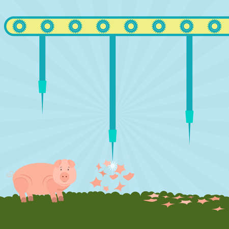 porcine: Machine with needles exploding pigs in the filed. Concept. Metaphorical. Illustration