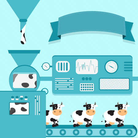 Vector illustration of factory producing cows. Dutch cows production from liquid leather of dutch cows. Empty ribbon for insert text. Conceptual. Metaphorical. Imaginative. Illustration