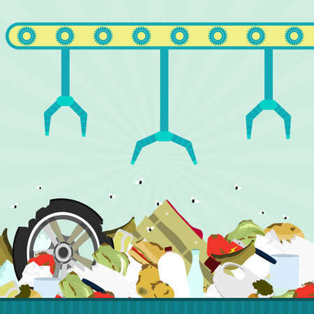 composting: Machine (conveyor) with grippers carrying garbage in landfill. Garbage contains tires, rotten foods, plastics, glass and old crate.