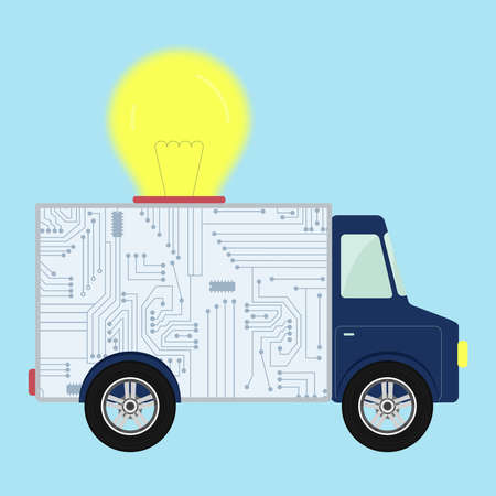Chip electronic circuit shown in the back of a truck. Big light bulb on top of truck. Ribbon to enter text. Concept.