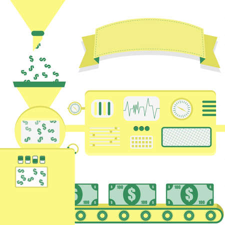 metaphorical: Vector illustration of factory producing banknotes. Money production from dollar bill. Empty ribbon for insert text. Conceptual. Metaphorical. Imaginative.