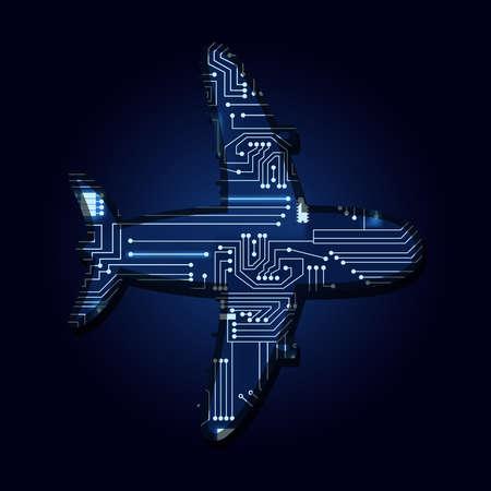 기술 전자 회로와 비행기입니다.