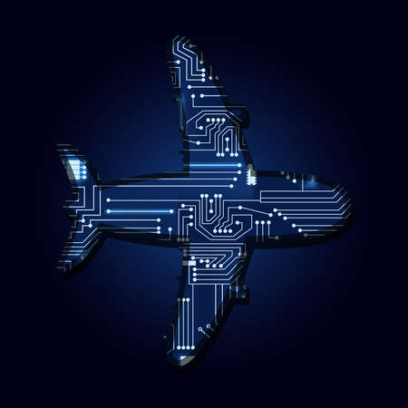 Plane with a technological electronics circuit.