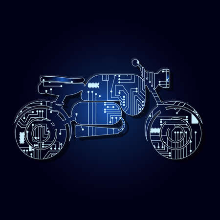 Motorcycle outline with a technological electronics circuit.