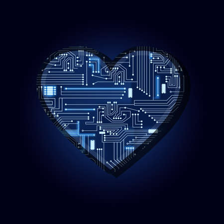 microcircuit: Heart shape with a technological electronics circuit. Illustration