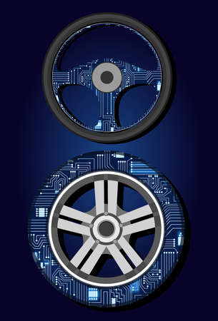 microcircuit: Steering wheel and tire with a technological electronics circuit. Illustration