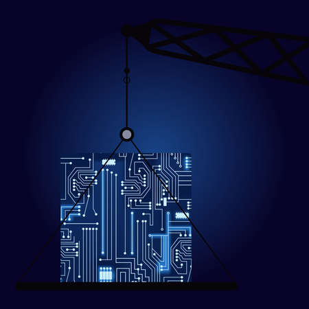 microcircuit: Crane with a technological electronics circuit. Illustration