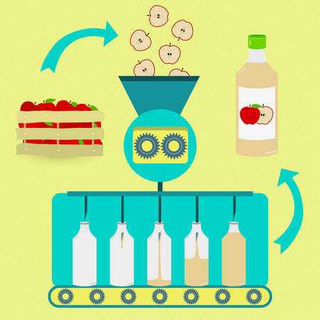 Apple juice series production. Fresh apples being processed. Bottled apple juice. Ilustracja