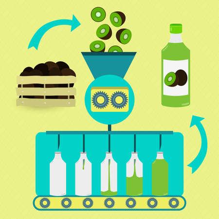 kiwi fruta: Kiwifruit juice series production. Fresh kiwifruits being processed. Bottled kiwifruit juice.