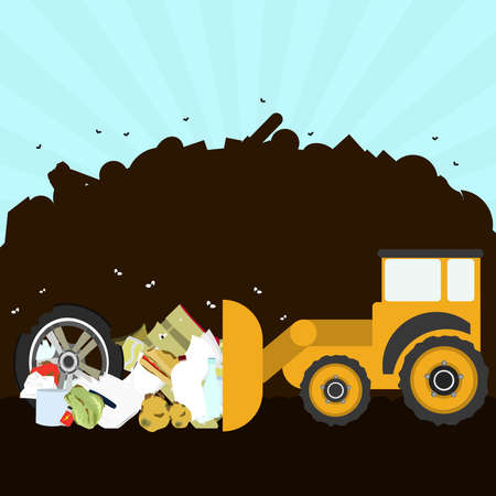 Bulldozer rearranging garbage in landfill. Silhouette of a pile of rubbish in the background. Garbage contains tires, rotten foods, plastics, glass and old crate. Illustration