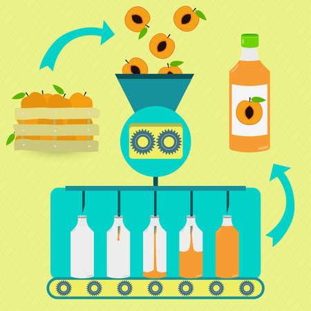 Peach juice series production. Fresh peaches being processed. Bottled peach juice. Illustration