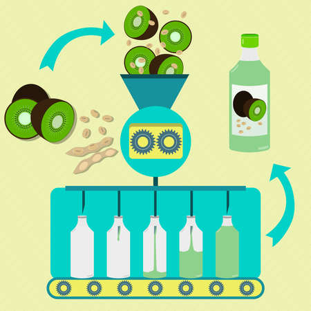 kiwi fruta: serie jugo de soja y la producción de kiwis. kiwis frescos y de vaina de soja con soja están procesando. kiwi embotellada y jugo de soja. Vectores