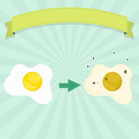 Rotten egg with flies and fresh and healthy egg. Blank ribbon for insert text. Illustration